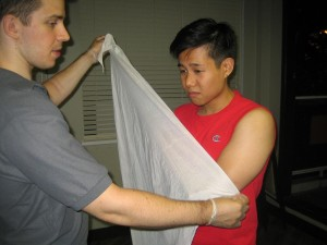 Preparing to Use a Sling for Arm Injury